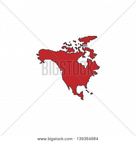 North America Map. Red flat simple modern illustration icon with stroke. Collection concept vector pictogram for infographic project and logo