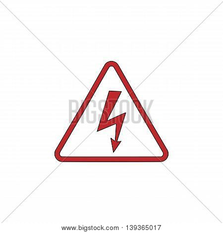 High voltage Red flat simple modern illustration icon with stroke. Collection concept vector pictogram for infographic project and logo