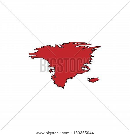 Alaska map. Red flat simple modern illustration icon with stroke. Collection concept vector pictogram for infographic project and logo