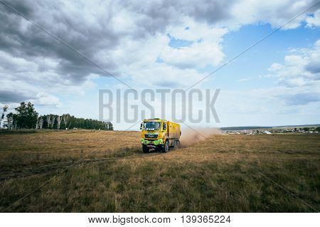 Filimonovo Russia - July 11 2016: rally truck MAN rides a dusty road during Silk way rally