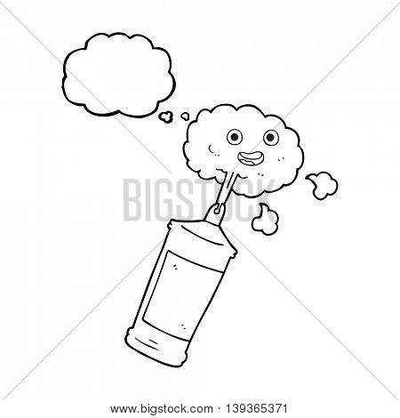 freehand drawn thought bubble cartoon spraying whipped cream