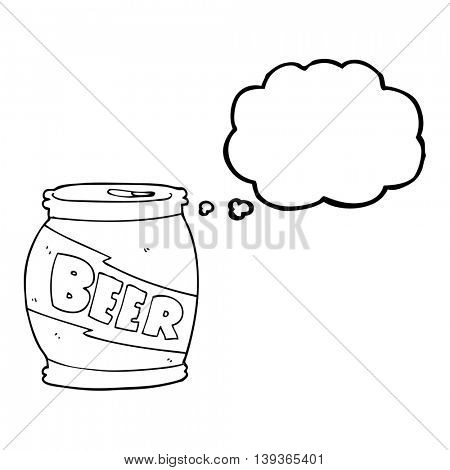 freehand drawn thought bubble cartoon beer can