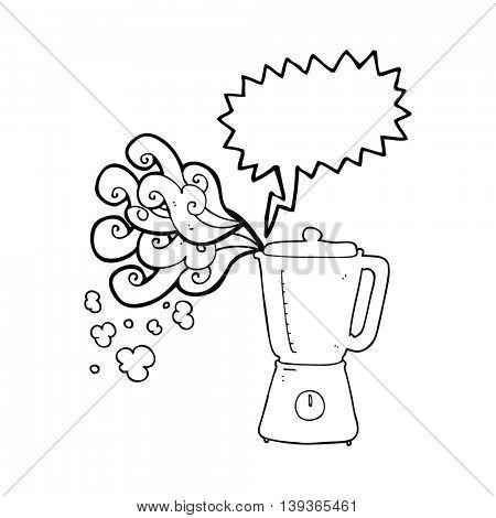 freehand drawn speech bubble cartoon blender going crazy