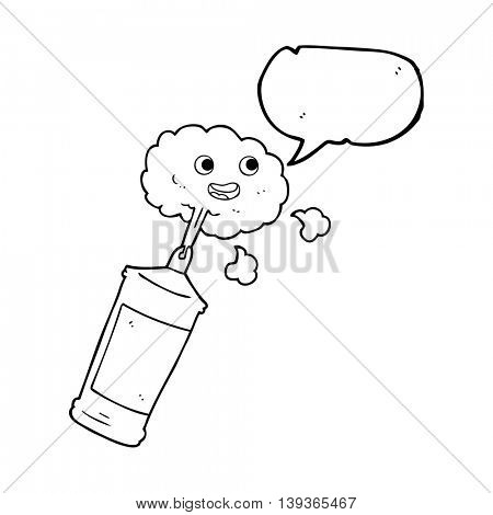 freehand drawn speech bubble cartoon spraying whipped cream