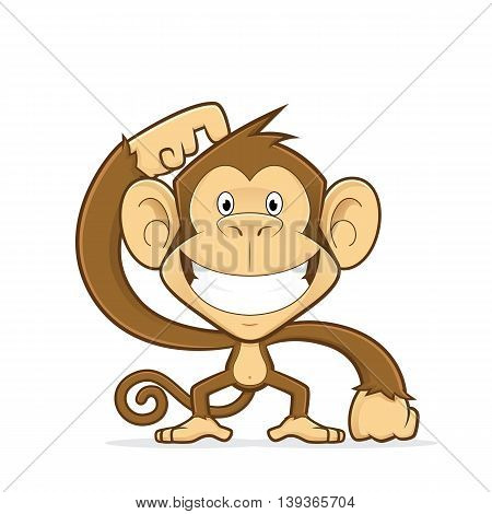 Clipart picture of a smiling monkey cartoon character scratching his head