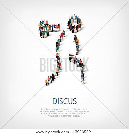 Isometric set of styles, people, sports, discus , web infographics concept  illustration of a crowded square, flat 3d. Crowd point group forming a predetermined shape. Creative people.