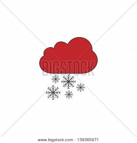 Cloud and snowflakes. Red flat simple modern illustration icon with stroke. Collection concept vector pictogram for infographic project and logo