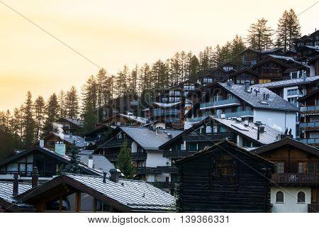 Summer day morning at Ski resort Zermatt in Switzerland