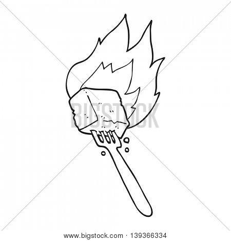 freehand drawn black and white cartoon flaming tofu on fork