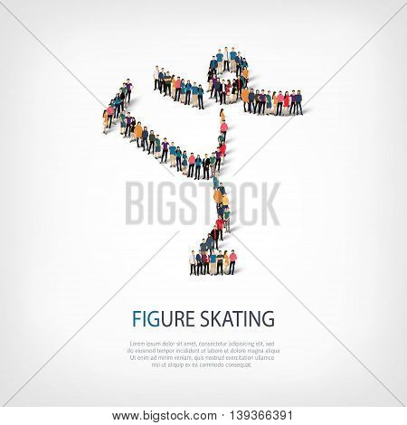 Isometric set of styles, people, sports, figure skating , web infographics concept of a crowded square, flat 3d. Crowd point group forming a predetermined shape. Creative people.  illustration.