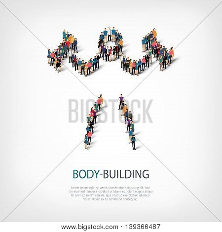 Isometric set of styles, people, sports, body-building , web infographics concept of a crowded square, flat 3d. Crowd point group forming a predetermined shape. Creative people.  illustration.