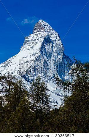 Peak of Matterhorn Mountain with blue sky Landscape Matterhorn from Zermatt Switzerland