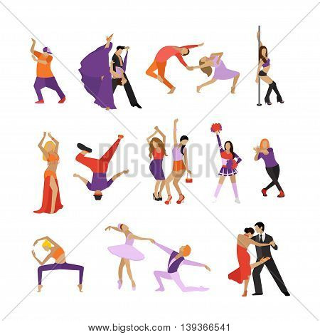 Vector set of dancing people. Dance design elements and icons isolated on white background.