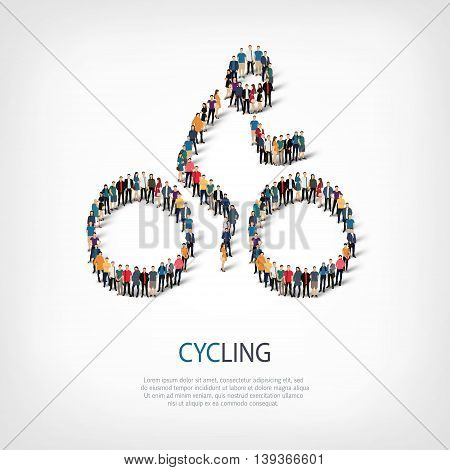 Isometric set of styles, people, sports, cycling , web infographics concept of a crowded square, flat 3d. Crowd point group forming a predetermined shape. Creative people.  illustration.