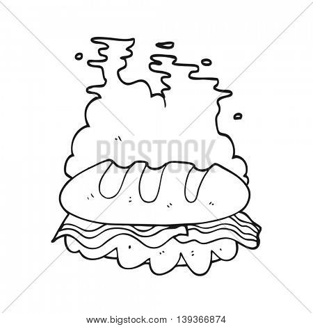 freehand drawn black and white cartoon huge sandwich
