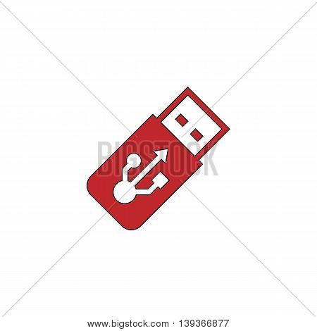 Usb flash drive. Red flat simple modern illustration icon with stroke. Collection concept vector pictogram for infographic project and logo