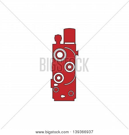 Retro Movie camera. Red flat simple modern illustration icon with stroke. Collection concept vector pictogram for infographic project and logo