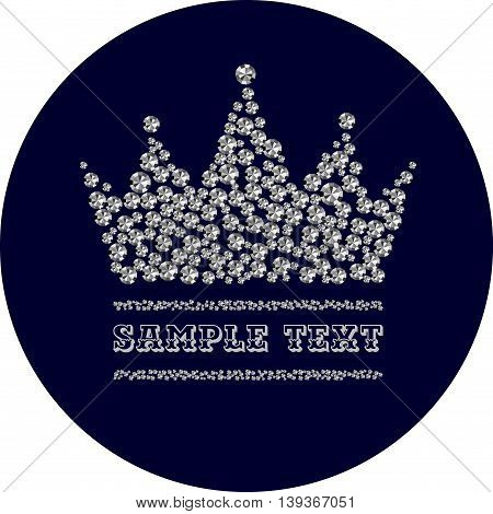 diamond crown in dark blue circle, vector illustration