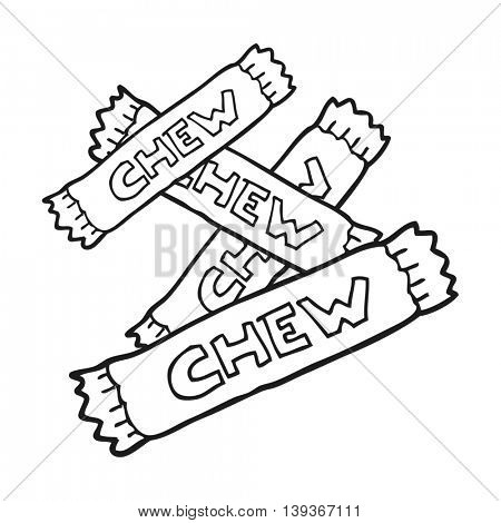 freehand drawn black and white cartoon chew candy