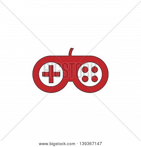 Joystick. Red flat simple modern illustration icon with stroke. Collection concept vector pictogram for infographic project and logo
