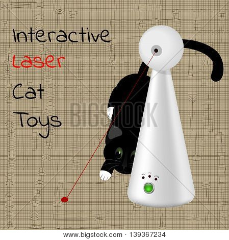interactive laser toy for cats and a black cat in the background