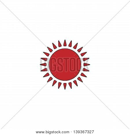 Sun. Red flat simple modern illustration icon with stroke. Collection concept vector pictogram for infographic project and logo