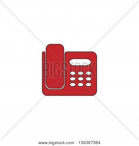Fax machine. Red flat simple modern illustration icon with stroke. Collection concept vector pictogram for infographic project and logo