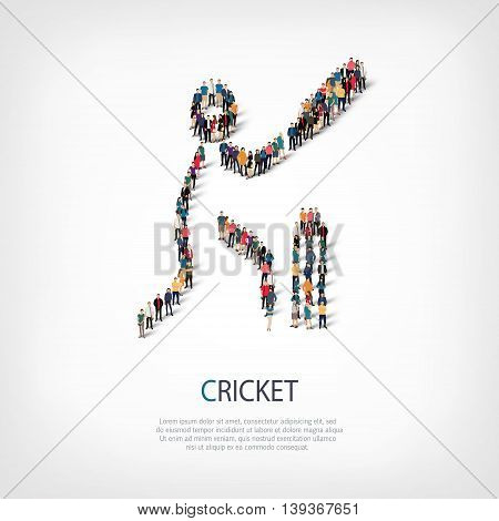 Isometric set of styles, people, sports, cricket , web infographics concept of a crowded square, flat 3d. Crowd point group forming a predetermined shape. Creative people.  illustration.