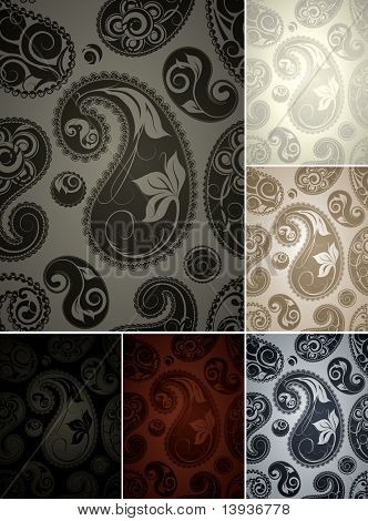 Wallpaper pattern, six colors seamless