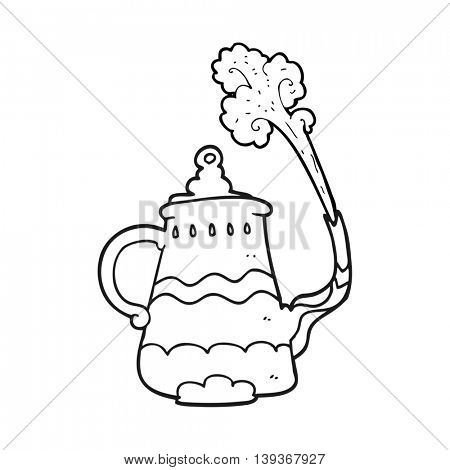 freehand drawn black and white cartoon fancy coffee pot