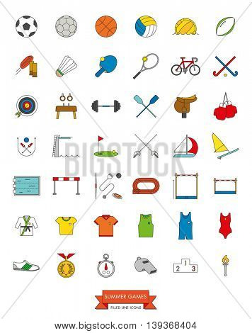 Summer Sports Events Filled Line Icon Collection Vector. Set of 42 symbols.
