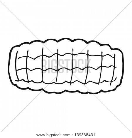 freehand drawn black and white cartoon corn cob