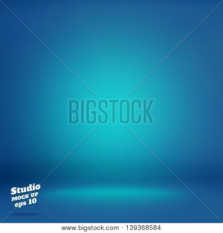 Vector,empty Vivid Lighting Blue Studio Room Background ,template Mock Up For Display Or Montage Of