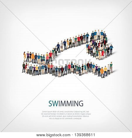 Isometric set of styles, people, sports, swimming , web infographics concept of a crowded square, flat 3d. Crowd point group forming a predetermined shape. Creative people.  illustration.