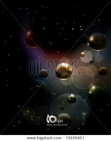Futuristisch Hintergrund mit Molekülen schwarz, eps10