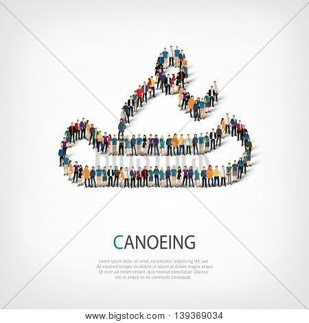 Isometric set of styles, people, sports, canoeing , web infographics concept of a crowded square, flat 3d. Crowd point group forming a predetermined shape. Creative people.  illustration.