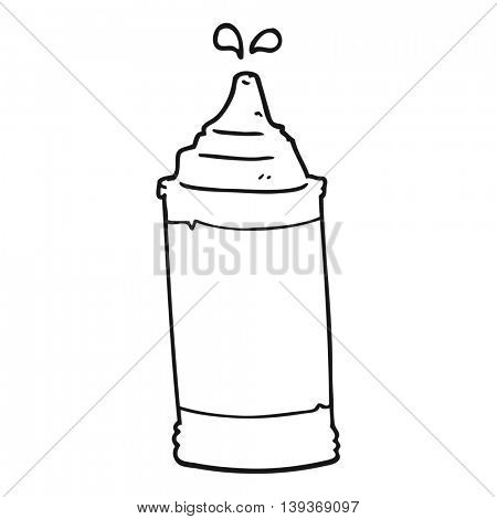 freehand drawn black and white cartoon mustard bottle