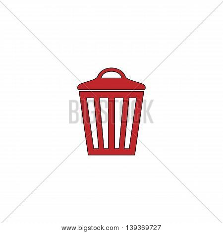 Trash can. Red flat simple modern illustration icon with stroke. Collection concept vector pictogram for infographic project and logo