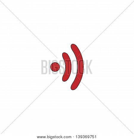 Wireless. Red flat simple modern illustration icon with stroke. Collection concept vector pictogram for infographic project and logo