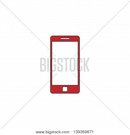 Mobile gadget. Red flat simple modern illustration icon with stroke. Collection concept vector pictogram for infographic project and logo