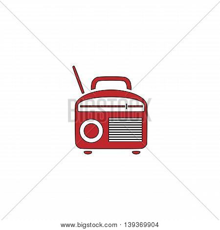 Radio. Red flat simple modern illustration icon with stroke. Collection concept vector pictogram for infographic project and logo