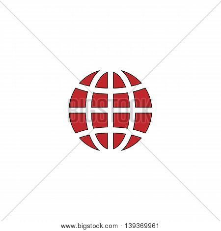 Earth Globe. Red flat simple modern illustration icon with stroke. Collection concept vector pictogram for infographic project and logo