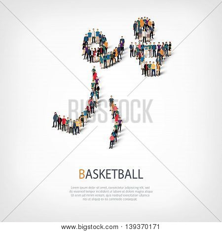Isometric set of styles, people, sports, basketball , web infographics concept of a crowded square, flat 3d. Crowd point group forming a predetermined shape. Creative people.  illustration.