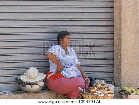 AZUAY, ECUADOR, OCTOBER - 2015 - Traditional woman street vendor at historic center of Cuenca Ecuador.