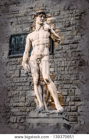 David by Michelangelo in front of Palazzo Vecchio, Florence Italy. Modern painting, background illustration, beautiful picture, creative image.