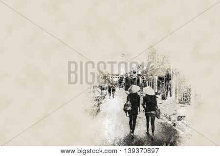 Two asian female tourists in traditional vietnamese conical hats walk on a street in Hoi Ah, Vietnam. Vintage painting, background illustration, beautiful picture, travel texture