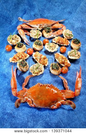Delicious gourmet plate with texture and color. Lobster with canapes.