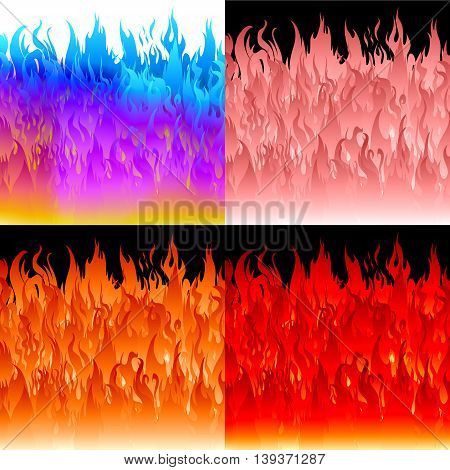 Fire flames background set. Vector abstract backgrounds.