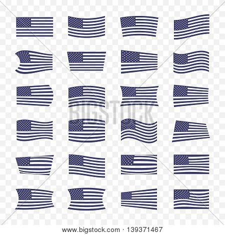 USA Flag set. American Flags with a different set of deformation on a transparent background isolated.