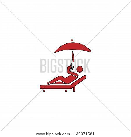 Relax under an umbrella on a lounger. Red flat simple modern illustration icon with stroke. Collection concept vector pictogram for infographic project and logo